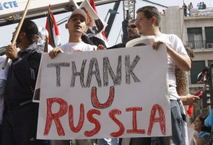 Demonstrators in Damascus show support for Russia's intervention in the Islamic civil war